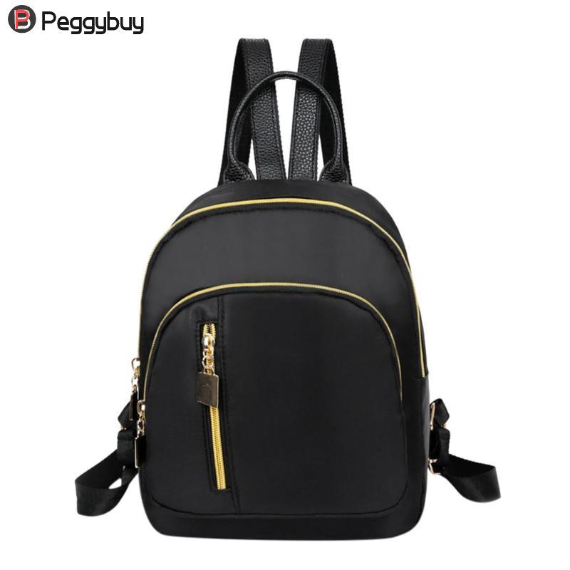 2019 Casual Oxford Backpack Women Black Waterproof Nylon School Bags For Teenage Girls High Quality Fashion Travel Tote Backpack