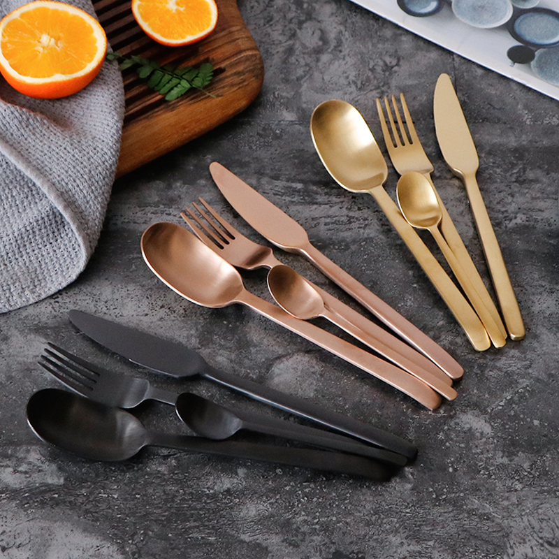 Image 2 - 4Pcs/Lot New Arrival Multicolor Cutlery Set Matte Stainless Steel Dinnerware Set Black Rose Gold Knife Fork Scoop Tableware Set-in Dinnerware Sets from Home & Garden