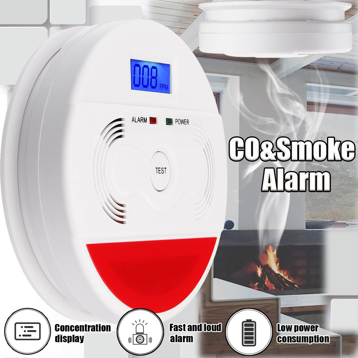 85dB Display LED Smoke & Detectores De Monóxido De Carbono Home Segurança Segurança CO Envenenamento Sensor de Gás Detector De Alarme De Advertência