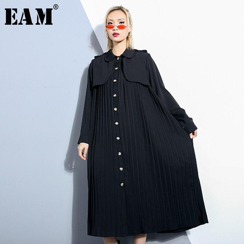 [EAM] 2019 New Spring Summer Lapel Long Sleeve Black Loose Long Big Size Pleated Windbreaker Women   Trench   Fashion Tide JQ049