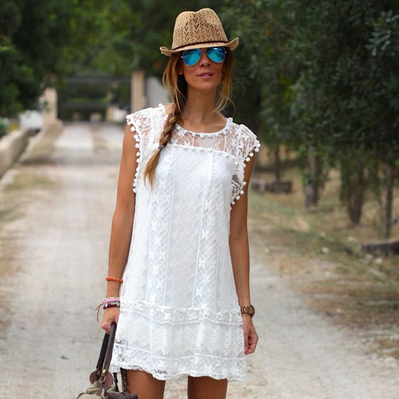 2019 Summer Women Lace Flare Sleeveless Mini Short Dress Ladies Beach Cover Ups Solid White Hollow Out Casual Women Beach Dress