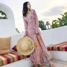 2019 Spring Summer Dress V-Neck Button Front Split Sexy Women Dresses Boho Floral Print Dress Casual Beach Long Dresses