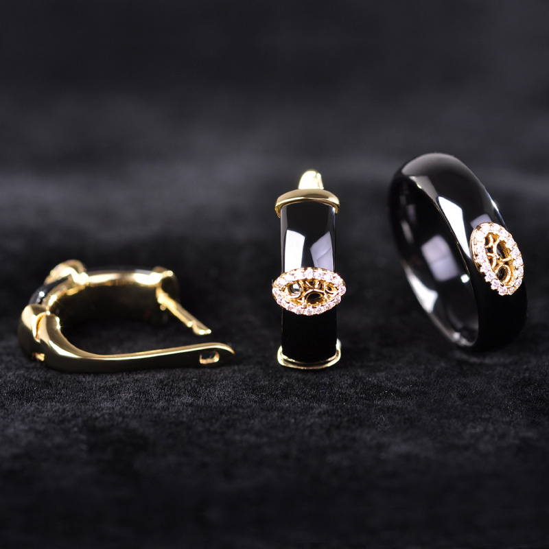 Blucome Black Ceramic Earrings Rings Set Gold Color Princess Hooks Stud Earrings Full Zircons Rhinestone Setting Jewelry Sets