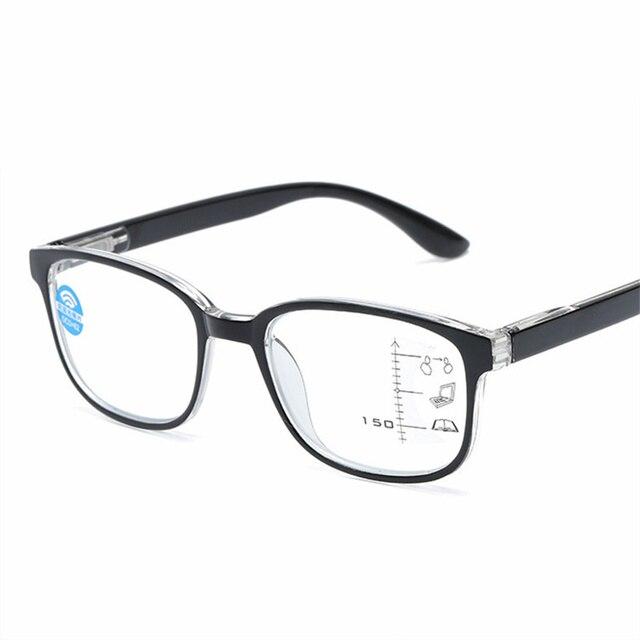 Progressive Multifocal Reading Glasses Men Women Square Anti blue light Glasses Frame Near Far Sight Diopter 1.0 1.5 2.0 2.5 3.0
