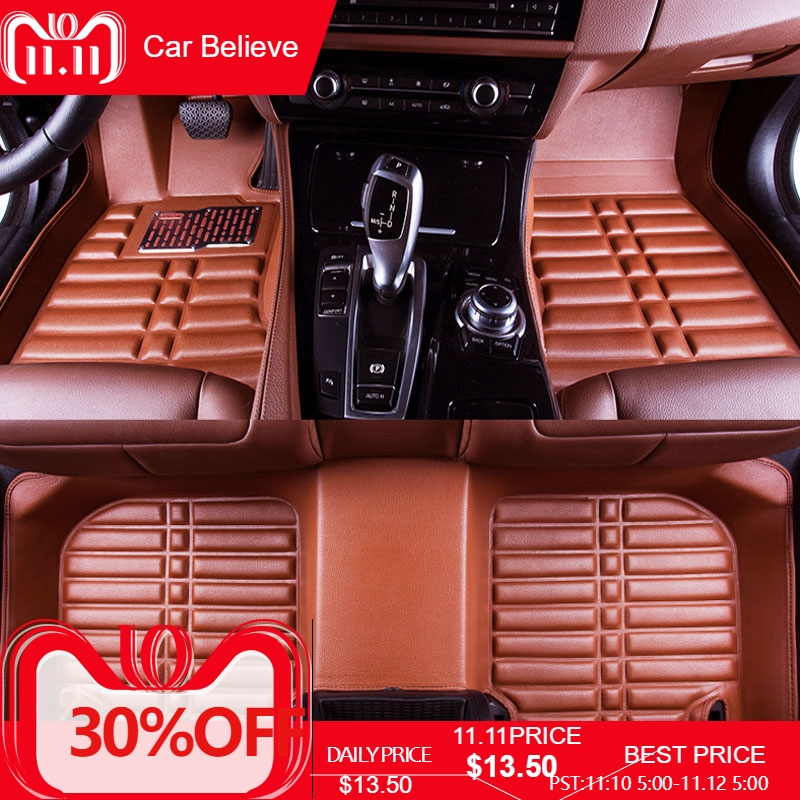 цена Car Believe Auto car floor Foot mat For hyundai solaris santa fe tucson 2017 accent 2008 waterproof accessories carpet