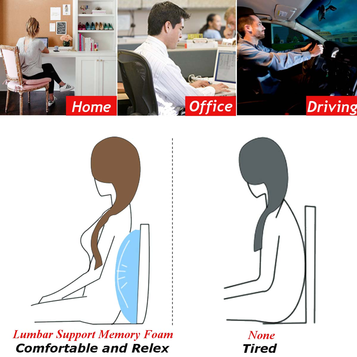 6 Color Lumbar Pillows Made Of Soft Foam For Car Seat To Support And Relieve Back Pain 1