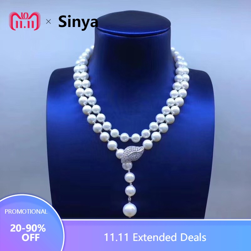 Sinya Sweater chain Round Natural pearls strand long necklace for Women Girls Mum lover newest gift Double-deck Pearl chocker free shipping imitation pearls chain flatback resin material half pearls chain many styles to choose one roll per lot