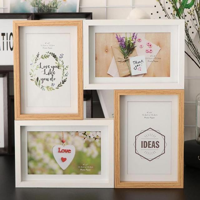 1Pcs / 4Pcs Creative Retro Combination Photo Frame DIY Wall Canvas Oil Painting Picture Poster Frame Home Decor Gift Ornaments