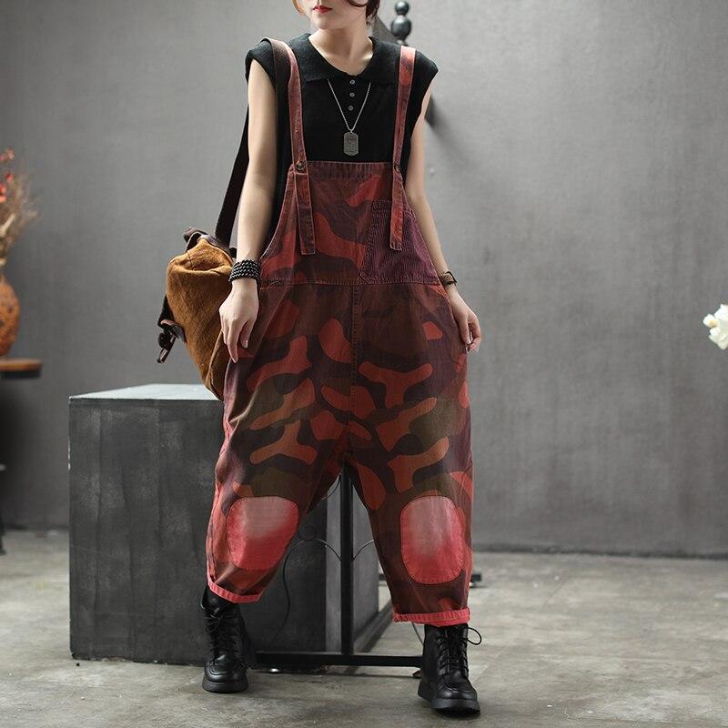 Camouflage cargo combinaisons femmes mode jarretelle harem pantalon Patchwork poche Vintage salopette Streetwear Drop entrejambe pantalon