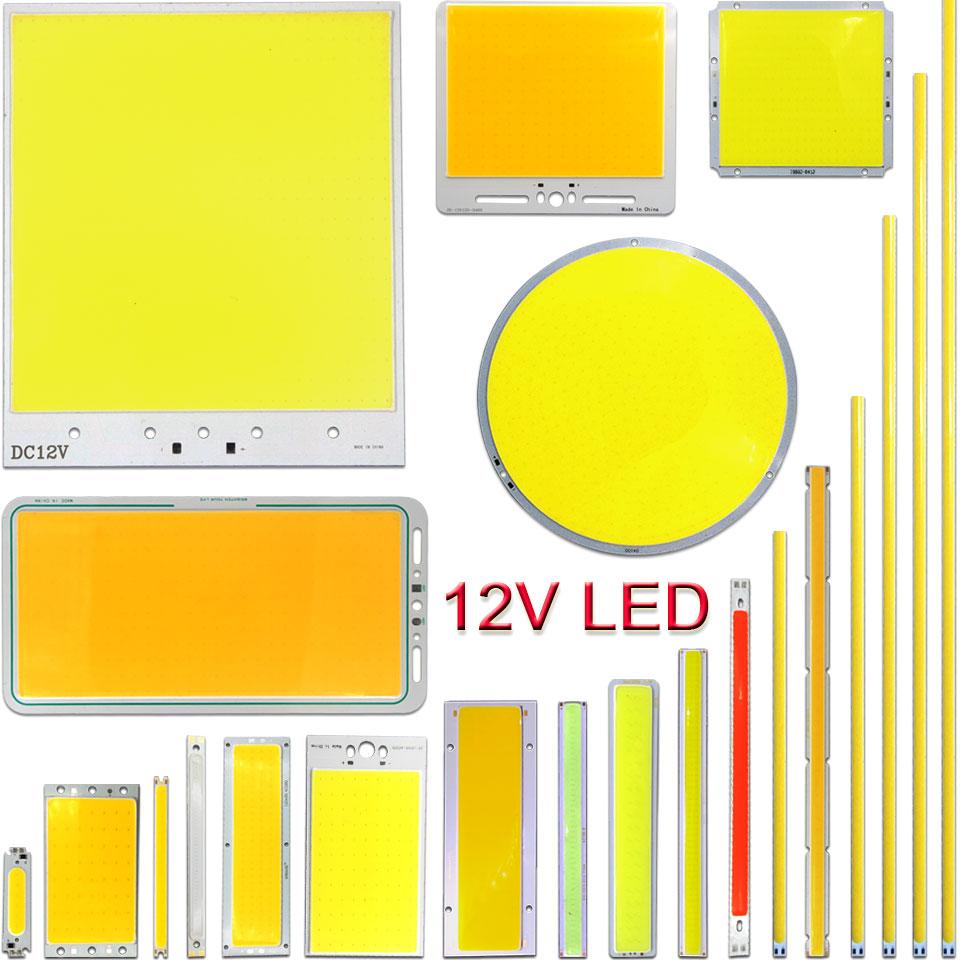 DC12V LED COB Bulb Light Emitting Diode 2W-200W Round COB Strip White Red Blue Color 12V LED Lamp Chip For Auto Car Lighting DIY