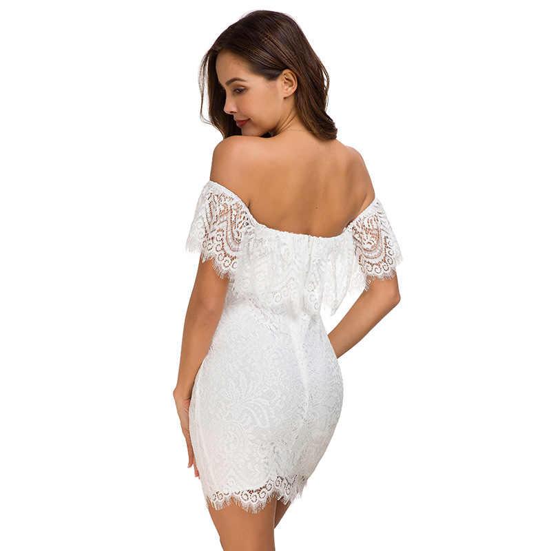 NewAsia épaule dénudée robe en dentelle blanche femmes élégante robe de fête de noël Chic col en v profond voir à travers dos nu Sexy robe noir