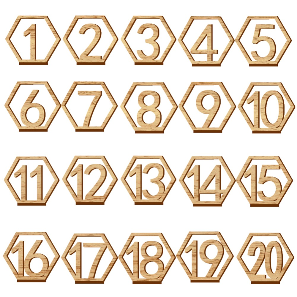 1 20 Numbers Wood Signs Wedding Hexagon Table Number ...