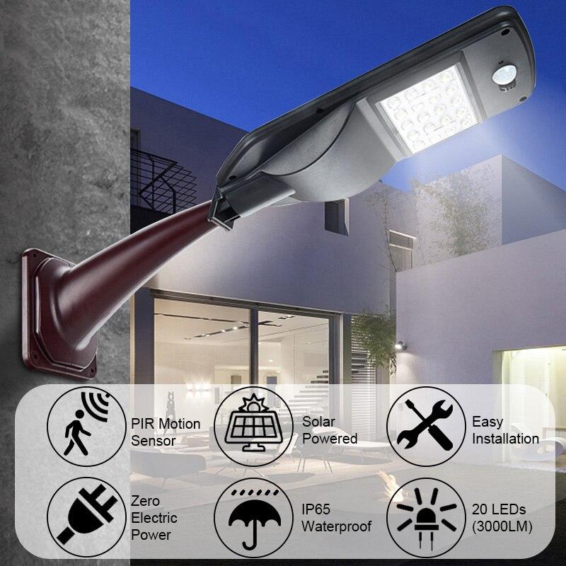 30W Remote Control 20LED Solar Power Power Street Light PIR Motion Sensor Garden Security Lamp Outdoor