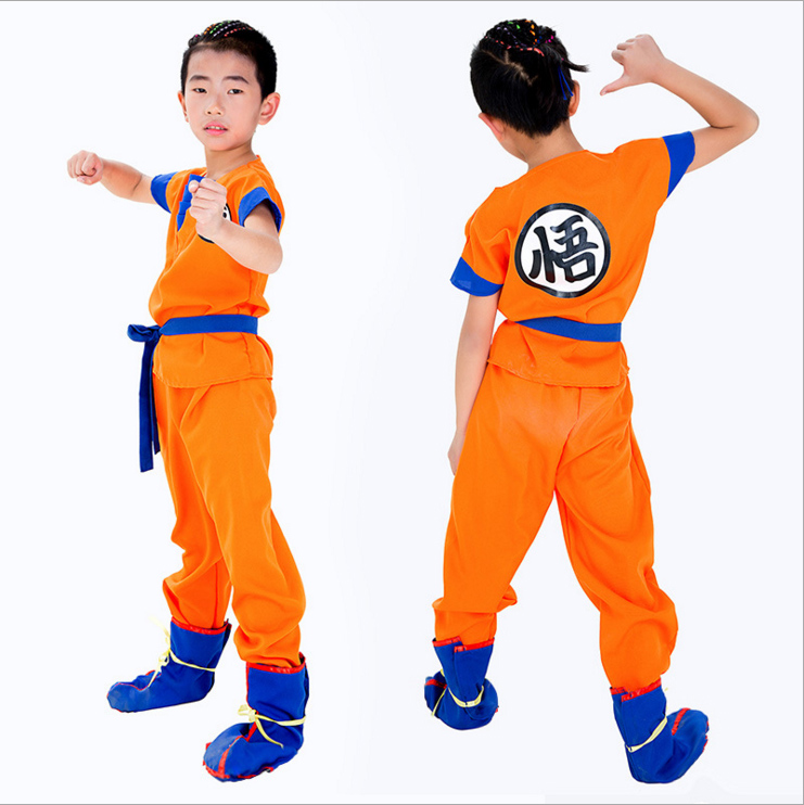 Child Kids Carnival Dragon Ball Z Costume Son Goku Wig Clothes Cosplay Halloween Children's Day Stage Show Party Fancy Dress