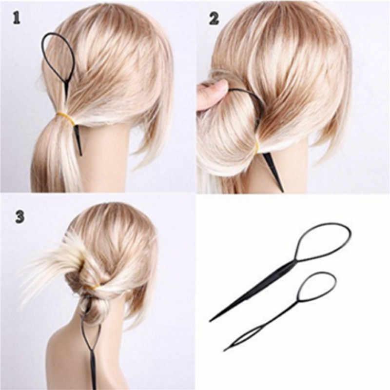 2019 nowych moda kobiet 2 sztuk zestaw Topsy Tail fryzjer fryzura włosów Twister Snare Loop czarny top