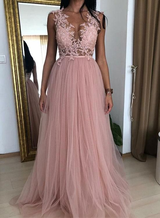 Stunning Beautiful Tulle   Prom     Dresses   A-line Appliqued Lace High Neck Cheap Party Evening   Dress   vestido cerimonia