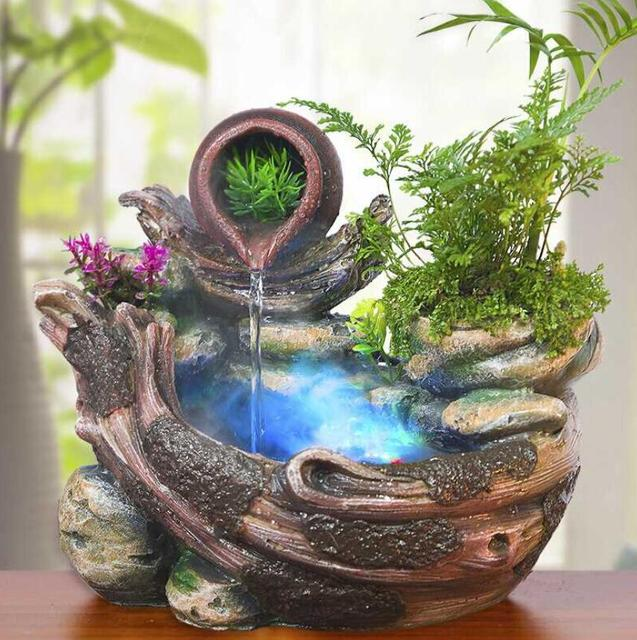 110v 220v Diy Water Fountain Air Humidifier Feng Shui Lucky Home Decor Little Monk Desktop Fish Tank Pot Atomizer