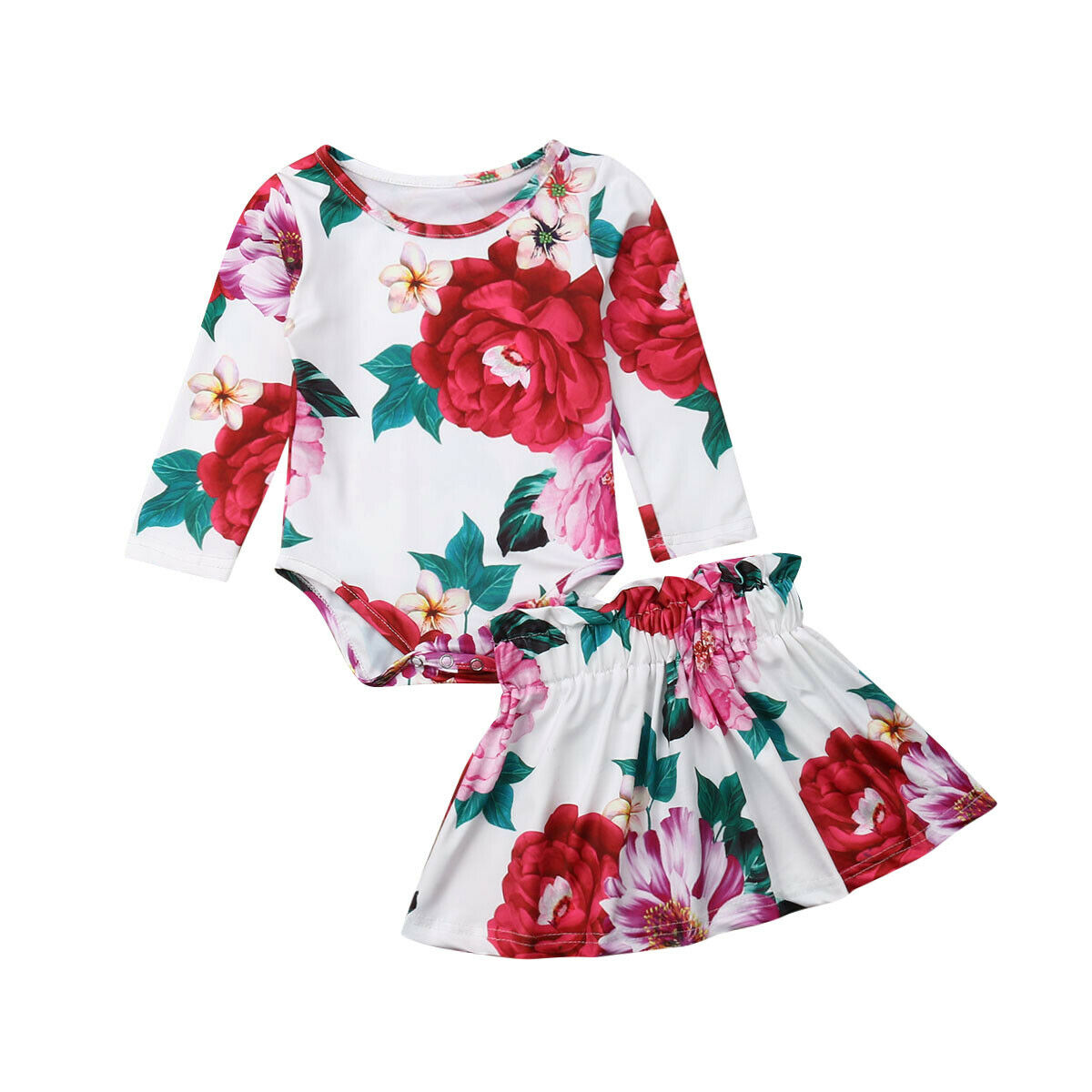 Toddler Baby Clothes Kids Floral Romper Top Long Sleeve Ruffle Skirt Tutu Dress Outfits Clothes Summer 2Pcs