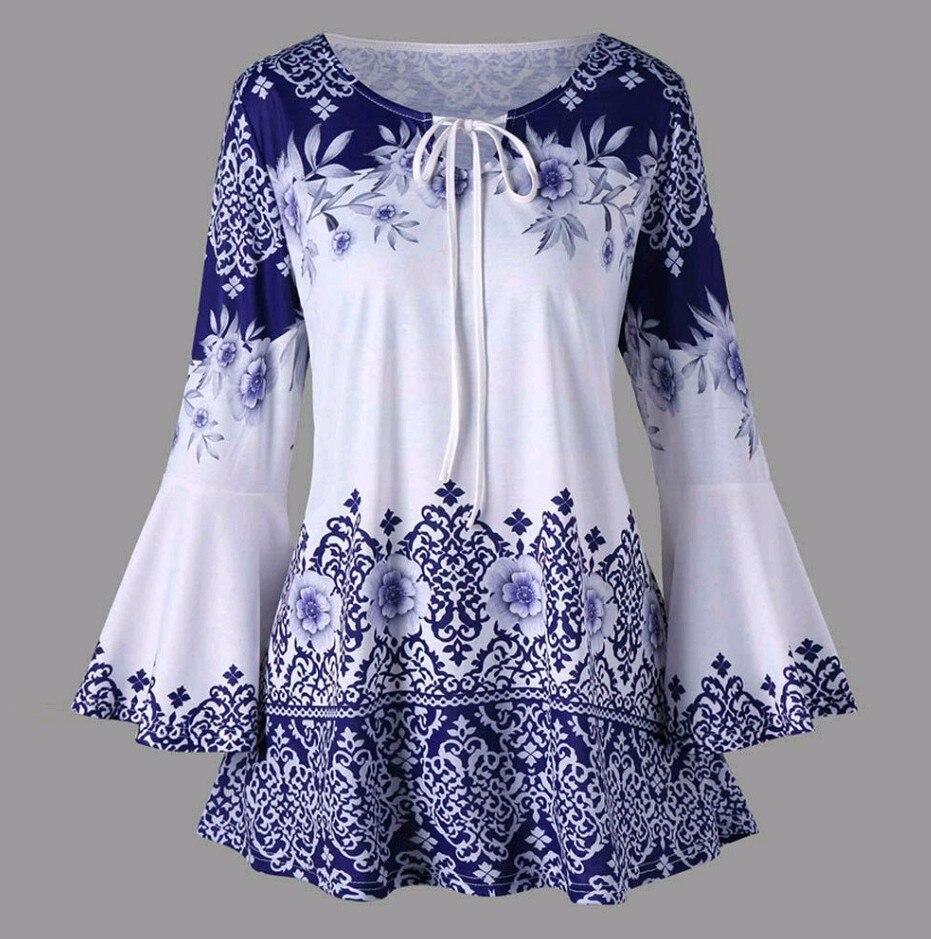 2018 XXXL XXXXXL XXXXL New Women Fashion Long Sleeve Blue and White Vintage Porcelain Flower Blouse pull over