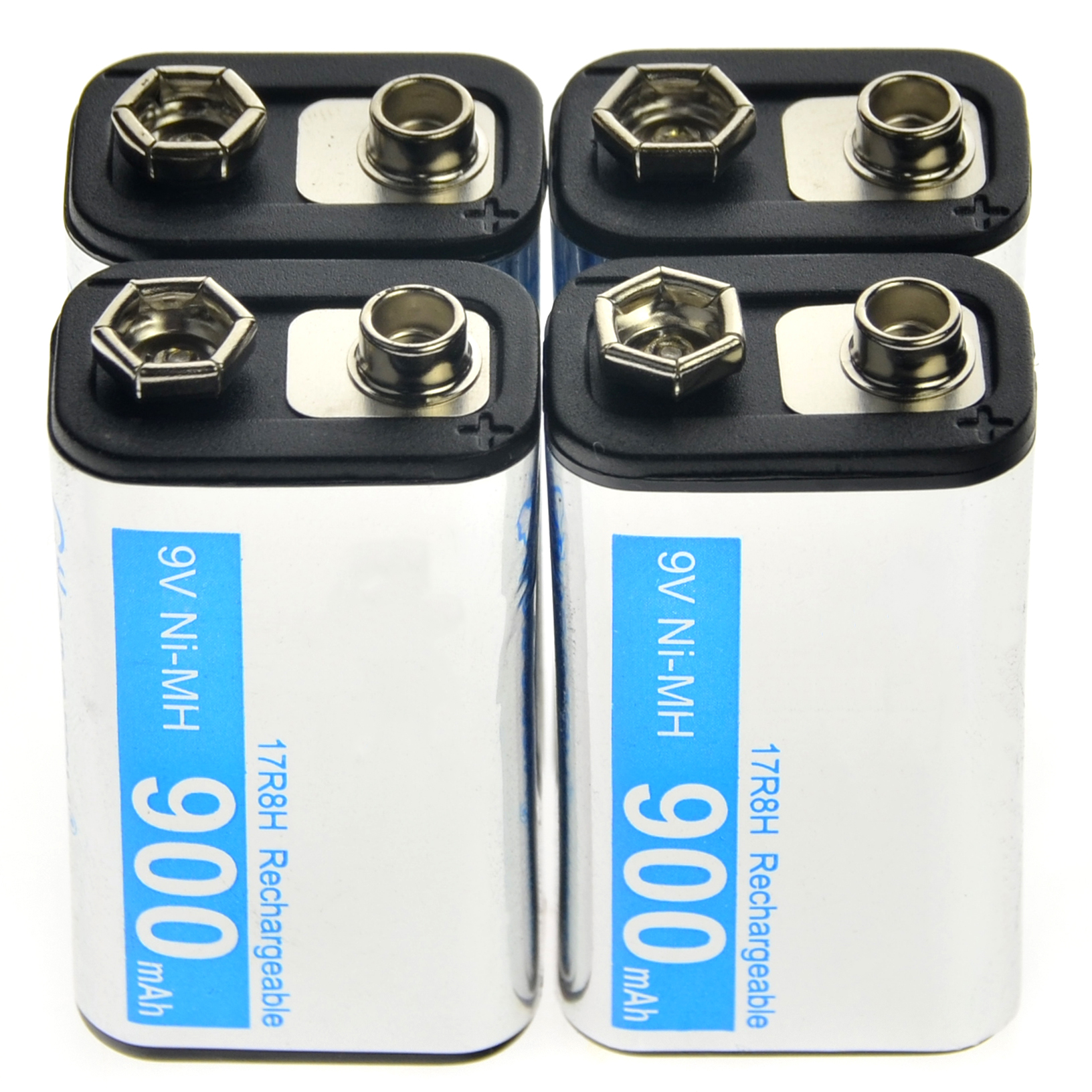 2-24pcs 9V 900mAh Rechargeable battery Cell Durable Battery PPS Black NiMh block Power