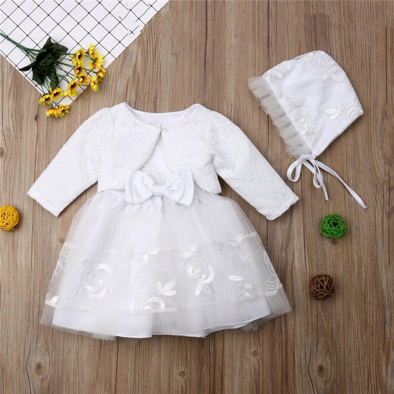 Baby Girls Princess Dress Lvory Lace Party Christening Tulle Dress Bonnet Jacket Coat Hat Set Bow Clothes 0 3 6 9 18 Months