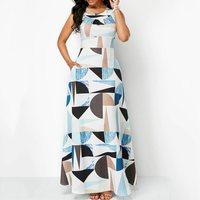 Travel Beach Summer Sexy Club Elegant White Women Long Dresses Plus Size Aline Geometric Hollow Backless Print Female Maxi Dress
