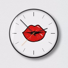 New 3D Wall Clock Cartoon Lips Personality Large Size Fashion Doodle Style Modern Design For Home Decor