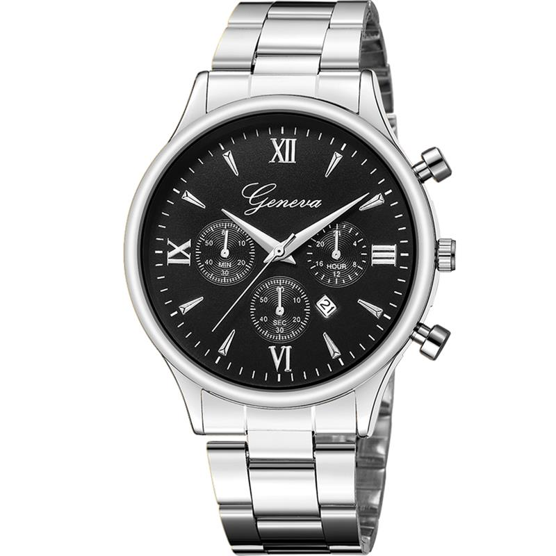 GENEVA Watch Men Stainless Steel Analog Quartz Wristwatch Ladies Female Fashion Minimalist Silver Hot Sale Watches
