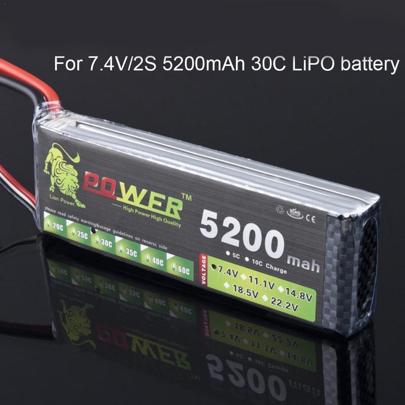 Para RC Car Power 7.4 V 5200 mAh Bateria Lipo Bateria 2 30C 2 S S LiPo 7.4 V 5200 MAh 30C 1 2 S P Batterie De Lítio-Polímero