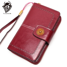 Genuine Leather Long Woman Red Purse Wallet Clutch Bag Ladies Purses Card Holder Women Phone Bags Carteira Feminina