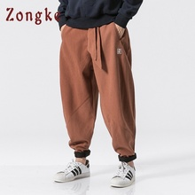 Zongke кашемировые шаровары в китайском стиле, мужские спортивные штаны, мужские повседневные винтажные штаны, мужские уличные штаны в стиле хип-хоп, новинка весны