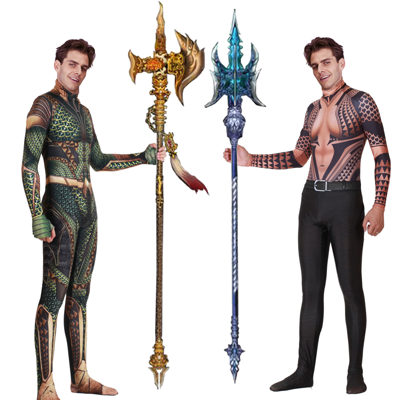 Aquaman Cosplay Costume Adult Arthur Curry Orin Quinn Mera Cosplay Zentai Bodysuit DC Superhero Halloween Cosplay Jumpsuit