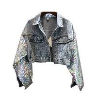 #3116 Punk Style Denim Jacket Women Extra Short Coat Sequins Sleeve Loose Hip Hop Windbreaker Harajuku Jacket Jeans Ladies