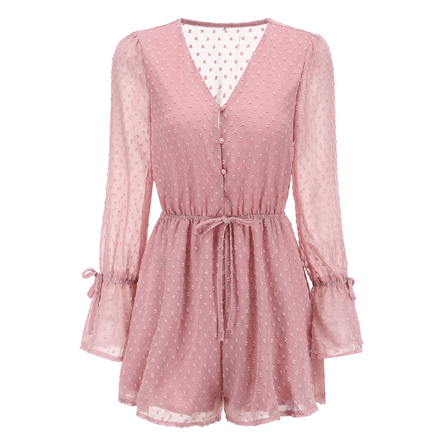 Women Chiffon Jumpsuit V Neck Long Sleeves Bell Cuff Button Dot Summer Casual Playsuit Rompers Fashion Elegant Ladies Party Wear 5