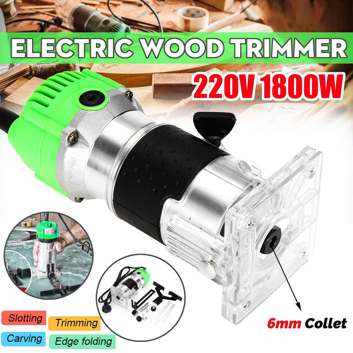 1800W 220V 30000r/min Electric Hand Trimmer Wood Laminator Router Joiners Tools ABS Plastic+Metal1800W 220V 30000r/min Electric Hand Trimmer Wood Laminator Router Joiners Tools ABS Plastic+Metal