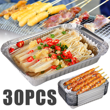 30pcs BBQ Aluminum Foil Grease Drip Pans Recyclable Grill Catch Tray Replacement Liner Trays For Tools