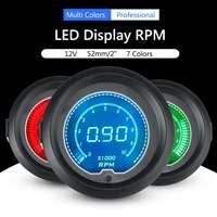 Car Auto 2inch 52mm Universal 7 Colors LED Display Tachometer Tacho Tester Gauge 12V