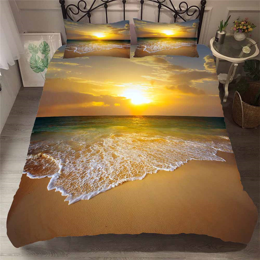 Bedding Set 3D Printed Duvet Cover Bed Set Beach Sea Home Textiles For Adults Bedclothes With Pillowcase HL32