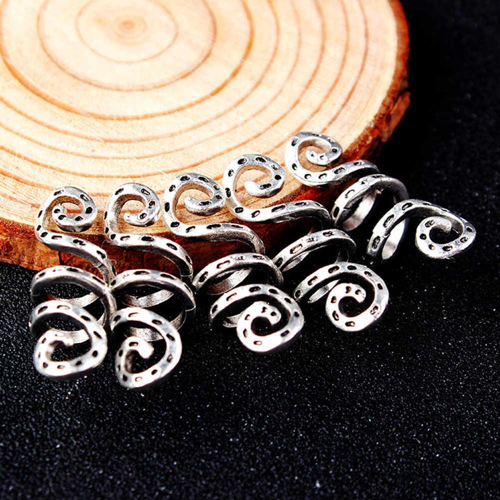 5 шт. парик спиральные аксессуары серебряное кольцо для волос коса зажимы трубка дредлок бусины Подвески сплав Винтаж