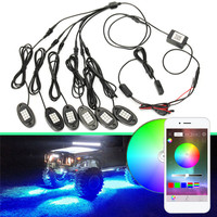 New 6 In 1 LED Rock Light Under Body Light RGB Car Atmosphere Lamp bluetooth Offroad Pickup SUV ATV Truck Rock Lamp