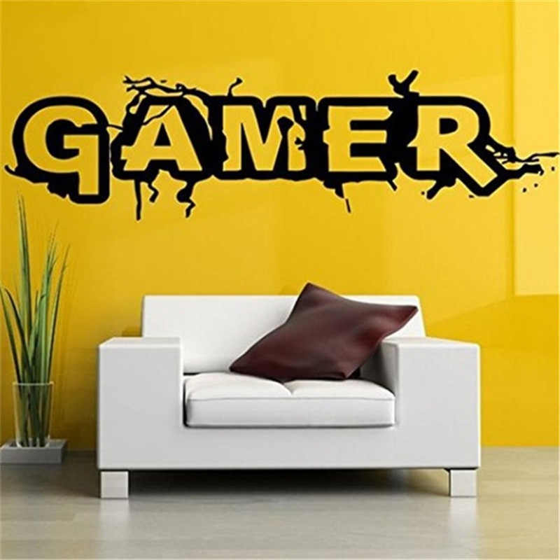 Creative Gamer crack wall sticker for kids Room Bedroom Background Decorative Painting Paper poster Removable Carved Stickers