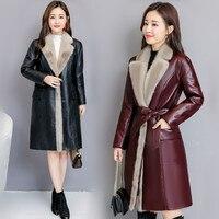2018 осень зима Для женщин куртка, новые модные высокого класса овечьей шкуре длинный тонкий кожаный норки меховой воротник Высокая Пальто с