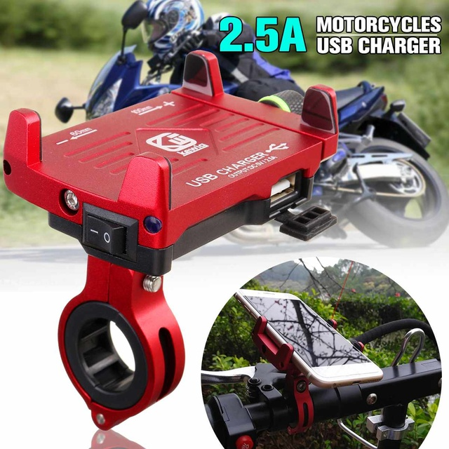 LEORY Rechargeable Motorcycle Phone Holder Handlebar Clip USB Charger Car