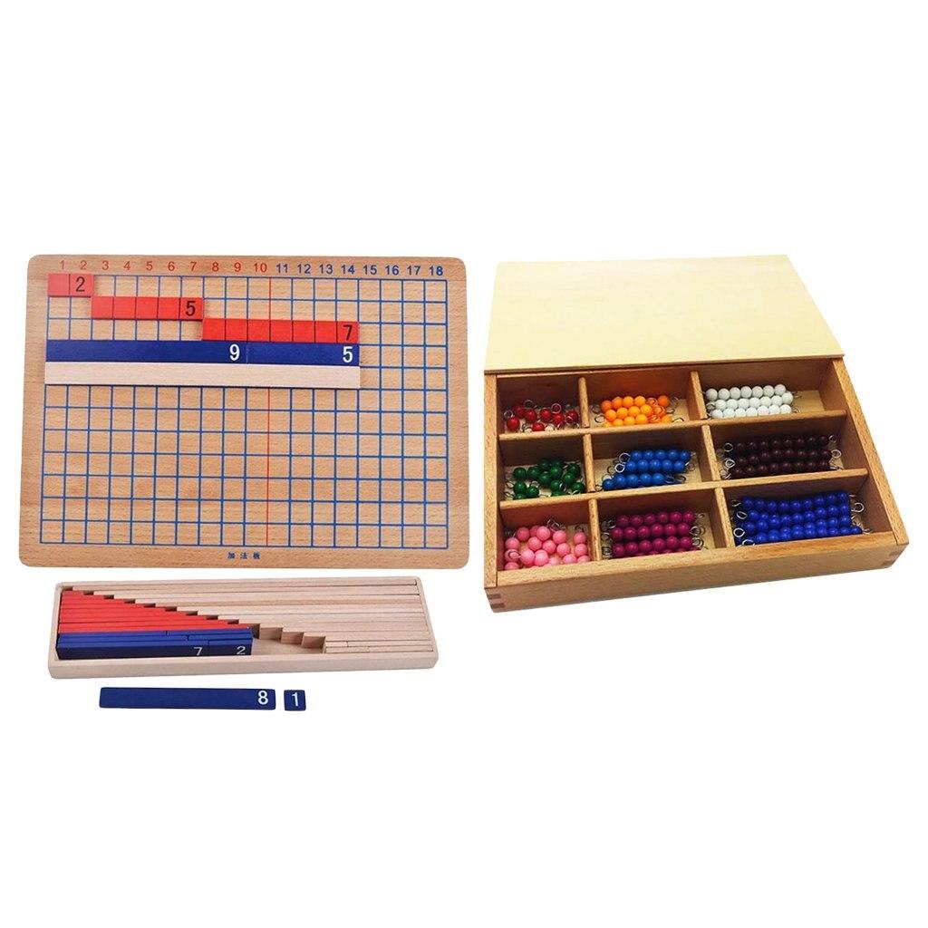 Montessori matematyka materiał dodatek odejmowanie płyta + 1-9 perły matematyczne zabawki edukacyjne dla dzieci maluch dzieci