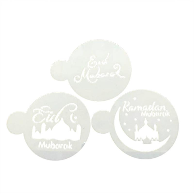 3Pcs/Set PET Muslim Eid Festival Coffee Art Stencils Cake Decorating Stencils