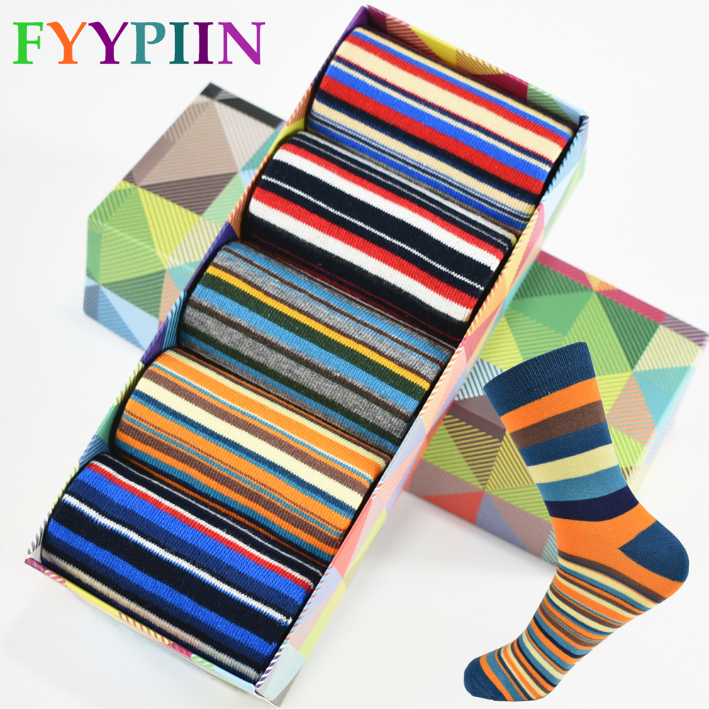 Casual Mens Socks Chromatic Stripe Five Pairs Of Socks Man With The Final Design Clothing Fashion Designer Style Cotton No Box image
