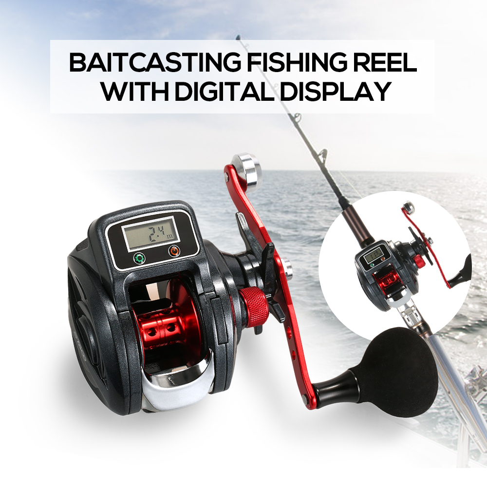 Low Profile Linecounter Reel 6.3:1 16+1 Ball Bearing Bait Casting Reel Baitcast Fishing Reel Tackle with Digital Display