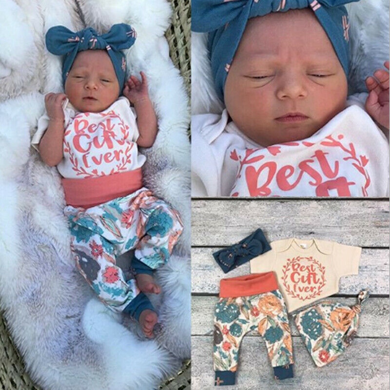 Pudcoco Baby Girl Set 0-18M US STOCK Cute Newborn Infant Baby Girls Tops Romper Floral Pants Outfits Clothes