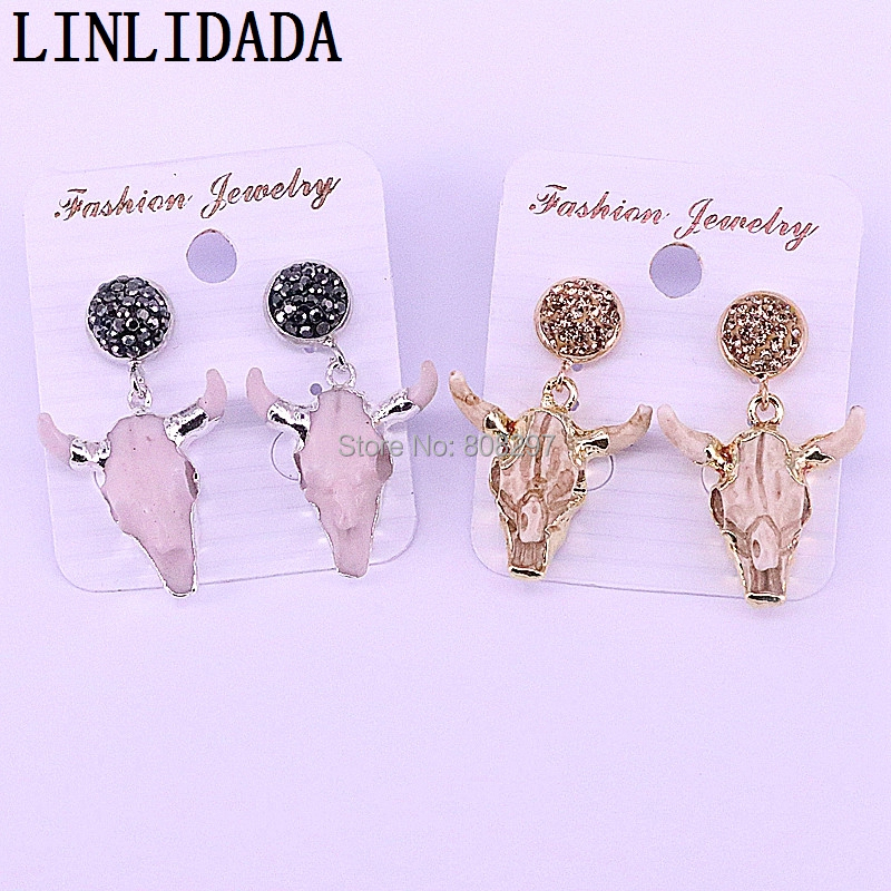 5Pairs Mix color small size cattle earrings resin bull head charm dangle jewelry earrings