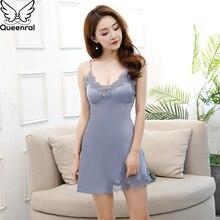 Queenral Сексуальная шелковая атласная ночная рубашка для женщин, кружевная ночная рубашка без рукавов, ночная рубашка с v-образным вырезом, летняя ночная рубашка